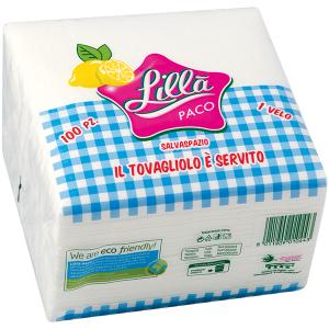Tovagliolo Lillà pacco bianco 33x33 piega 1/4