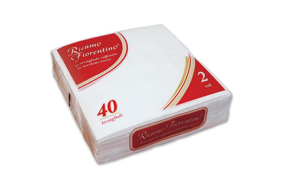 Tovagliolo Ricamo Fiorentino bianco 40x40